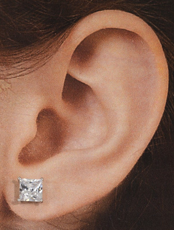Princess Cut Square 6 mm Magnetic Earrings Corner Setting - Laura Wilson Gallery