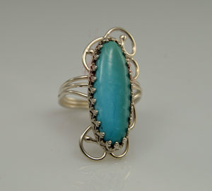 9 x 25 mm Natural Turquoise Oval Stone and Sterling Silver Wire Ring - Laura Wilson Gallery
