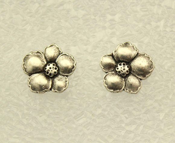 Antique Style Silver Flower Button Magnetic Earrings 25 x 23 mm - Laura Wilson Gallery