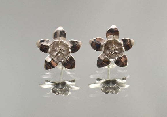 Large Columbine Pierced Earrings in Sterling Silver, 14 K or 18 K Gold - Laura Wilson Gallery