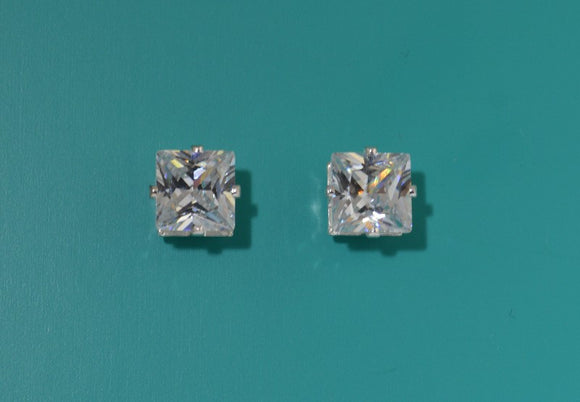 Princess Cut Square 8 mm Cubic Zirconia Silver Magnetic Earrings - Laura Wilson Gallery