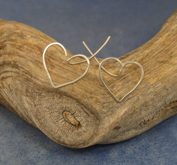 Sterling Silver Heart Wire Pierced Earrings In Small and Medium - Laura Wilson Gallery