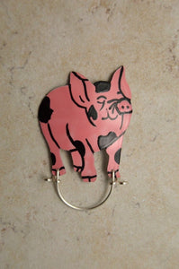 Hand Painted Custom Made Pink Pig Magnetic Eyeglass Holder - Laura Wilson Gallery