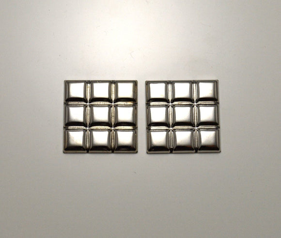 22 mm Silver Square Magnetic Quilted Pillow Earrings