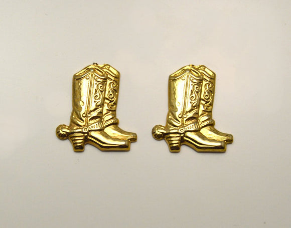 Magnetic  14 Karat Gold Plated Cowboy Boot Magnetic Clip Earrings - Laura Wilson Gallery