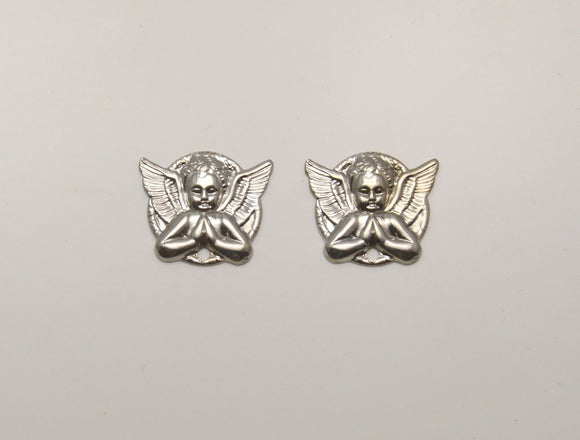 Silver Or Gold Magnetic Praying Angel Magnetic Clip or Pierced Earrings