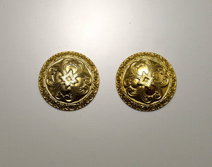 14 Karat Gold Plated Low Dome Ornate Circle Magnetic Clip or Pierced Earrings