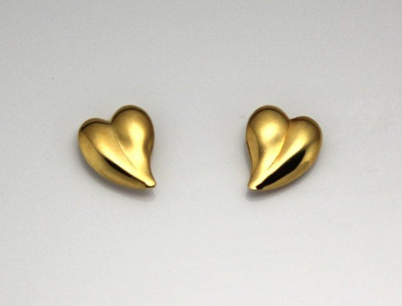 12 x 15 mm Curved Heart 14 Karat Gold Plated Magnetic Earrings