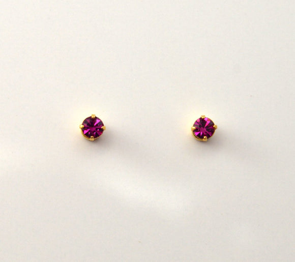 3 mm Round Swarovski Fuschia Crystal Magnetic Earrings - Laura Wilson Gallery