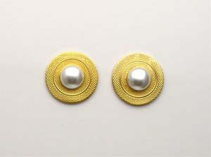 Magnetic Clip On Earrings 25 mm Round Engraved With 12 mm Pearl Center - Laura Wilson Gallery