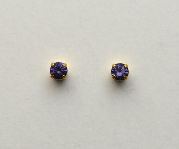 3 mm Round Tanzanite Crystal Magnetic Earrings - Laura Wilson Gallery