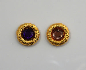 22 mm Round Gold Magnetic Clip On Earrings with 10 mm Acrylic Stone - Laura Wilson Gallery