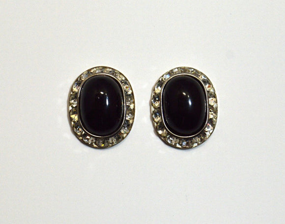 18 x 24 mm Pearl or Black Oval Magnetic Non Pierced Clip Earrings Swarovski Crystal Earrings - Laura Wilson Gallery