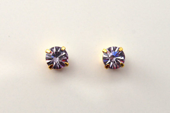 5 mm Round Violet Swarovski Crystal Magnetic Earrings - Laura Wilson Gallery