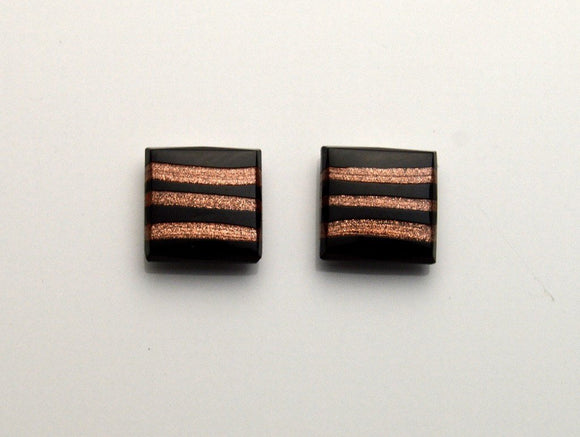 15 mm Square Black Glass With Copper Stripes Magnetic Non Pierced Clip On Earrings