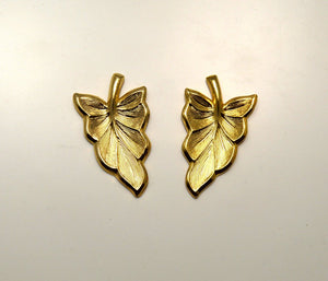 15 x 25 mm Leaf Magnetic Non Pierced  Clip or Pierced Earrings In Gold or Silver - Laura Wilson Gallery