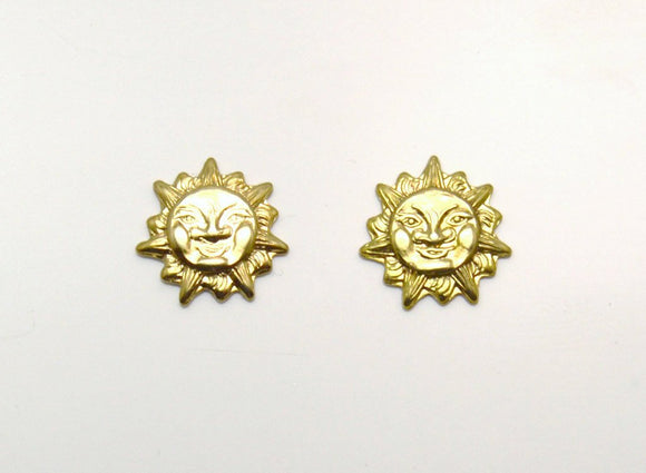 14 Karat Gold Plated 10 mm Tiny Sun Face Magnetic Clip Non Pierced Earrings