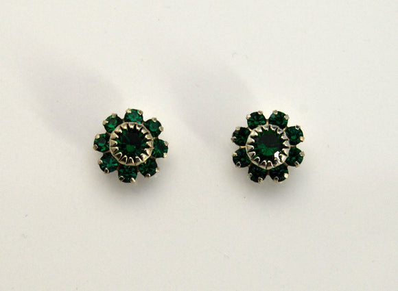 10 mm Round 9 Stone Swarovski Emerald Crystals Magnetic or Pierced Earrings - Laura Wilson Gallery