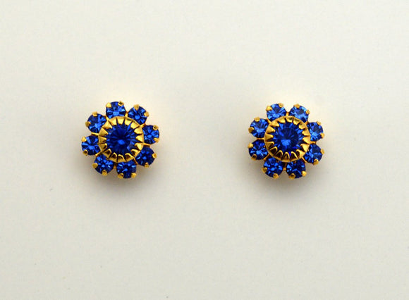 Sapphire 10 mm Round 9 Stone Cluster Swarovski Crystals Magnetic or Pierced Earrings - Laura Wilson Gallery