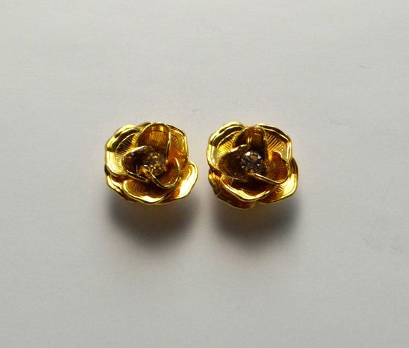 13 mm Gold or Silver Rose with Swarovski Crystal Center Magnetic  Non Pierced  or Pierced Earrings