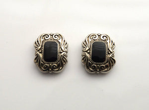 Silver and Black Enamel 15 x 18 mm Rectangle Magnetic Earrings - Laura Wilson Gallery