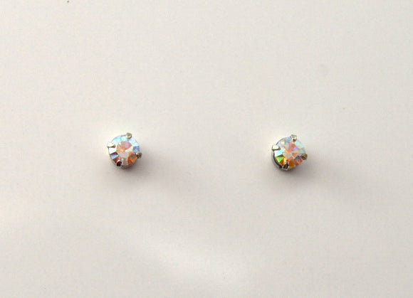3 mm Round Swarovski Aurora Borealis Crystal Magnetic Earrings - Laura Wilson Gallery
