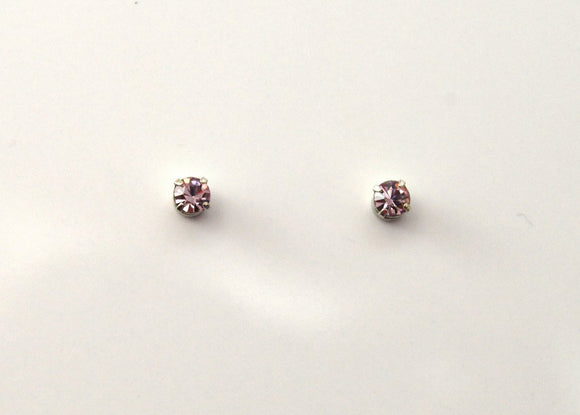 3 mm Round Violet Crystal Magnetic Earrings - Laura Wilson Gallery