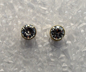 Faceted Cubic Zirconia 7 mm Bezel Setting Magnetic Earrings - Laura Wilson Gallery