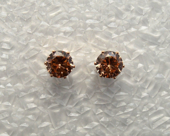 Faceted Apricot Peach Cubic Zirconia 8mm Magnetic Earrings - Laura Wilson Gallery