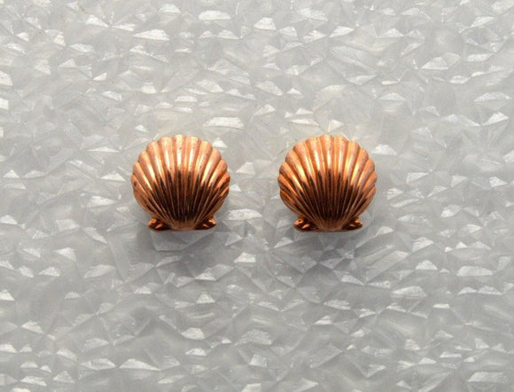 High Dome Scallop Silver or Gold or Copper Shell Magnetic Clip Non Pierced or Pierced Earrings - Laura Wilson Gallery