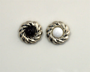 20 mm Round Silver Magnetic Clip On Earrings With 7 mm Acrylic Stone - Laura Wilson Gallery