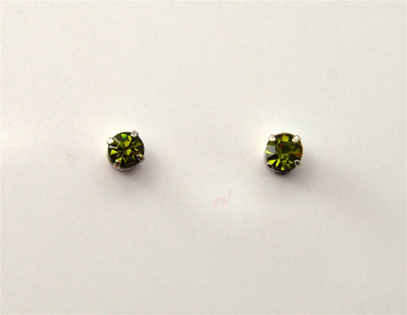 3 mm Round Swarovski Green Olivine Crystal Magnetic Earrings - Laura Wilson Gallery