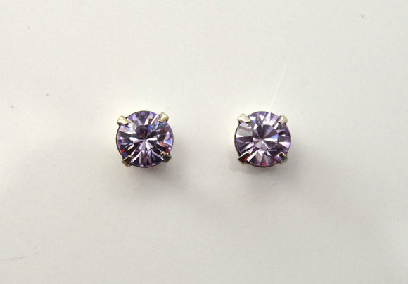 6.5 mm Round Violet Swarovski Crystal Magnetic Earrings - Laura Wilson Gallery