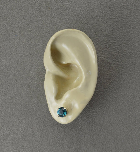 3mm 5mm or 6.5 mm Round Indicolite Crystal Magnetic Earrings - Laura Wilson Gallery