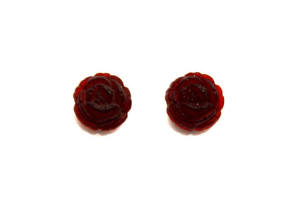 14 mm Round Red Glass Rose Magnetic or Pierced  Earrings - Laura Wilson Gallery