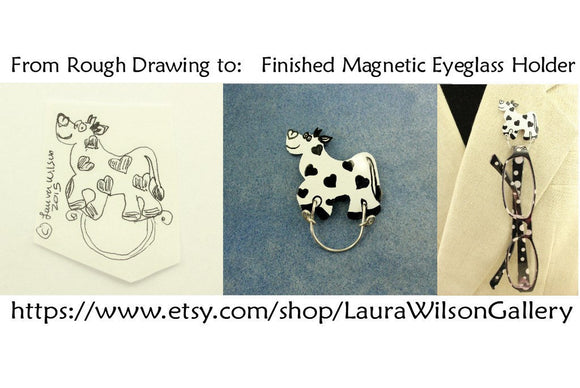 Magnetic Eyeglass Holder Lanyard or Brooch Custom Made Original Design Happy Black & White Cow - Laura Wilson Gallery