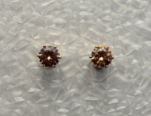 Faceted Apricot Peach Cubic Zirconia 6 mm Magnetic Earrings - Laura Wilson Gallery