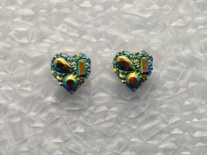 Handmade 10 mm Green Drusy Quartz Heart Magnetic Clip Non Pierced Earrings - Laura Wilson Gallery