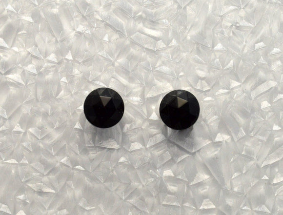 7 mm Point Top Faceted Black Glass Cabochon Magnetic Non Pierced Clip Earrings - Laura Wilson Gallery