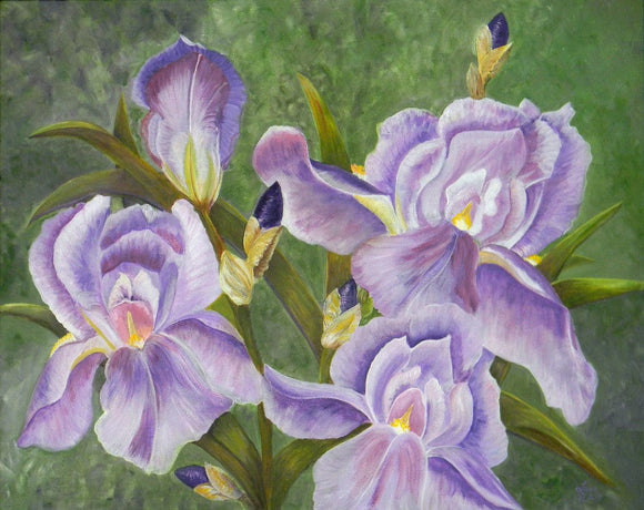 Four Irises Original Acrylic Painting On Canvas - Laura Wilson Gallery