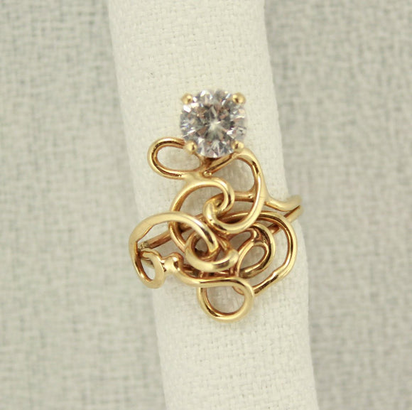 14 Karat Gold Wire Ring with Faceted Cubic Zirconia - Laura Wilson Gallery