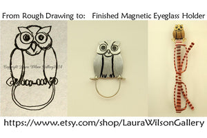 Handmade Hand Painted Owl Magnetic Eyeglass Holder With Feathers - Laura Wilson Gallery