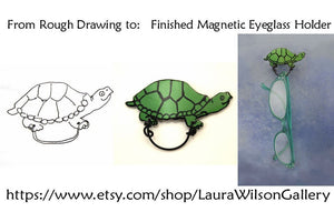 Cute Hand Painted Turtle Magnetic Eyeglass Holder - Laura Wilson Gallery