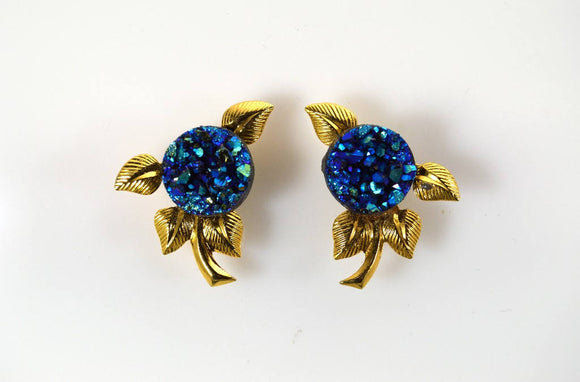 10 mm Drusy Cab Set In Gold Or Silver Leaf Magnetic Non Pierced Clip Earrings - Laura Wilson Gallery
