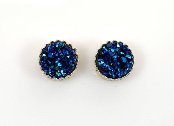 12 mm Blue Drusy Quartz Set In Fancy Gallery Bezel Magnetic Earrings - Laura Wilson Gallery