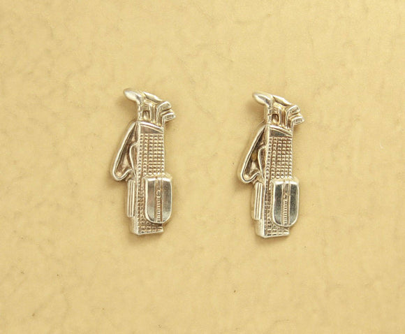 14 Karat Gold or Nickel Plated  Brass Golf Bag Magnetic Clip Non Pierced  Earrings - Laura Wilson Gallery