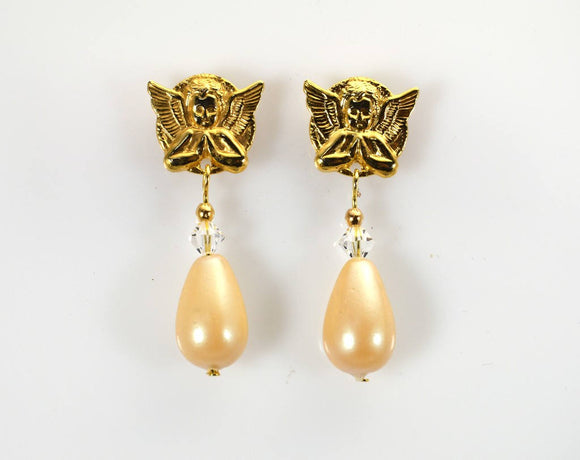 Gold or Silver Magnetic Angel Earrings With Antique Pearl Drops - Laura Wilson Gallery