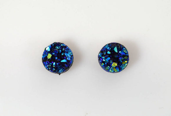10 mm Blue and Green Drusy Quartz Magnetic Clip Non Pierced Earrings - Laura Wilson Gallery