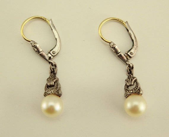 Vintage 14 K White and Yellow Gold Cultured Pearl Pierced Dangle Earrings