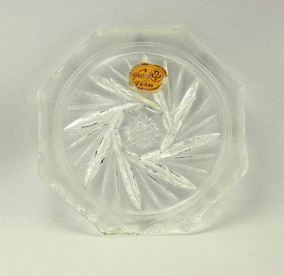 Czechoslovakia Pinwheel Glass Coasters